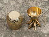 VINTAGE LARGE BRASS HOLLYWOOD PINEAPPLE ICE BUCKET