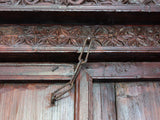 19th Century Indian Carved Wood Entrance Door and Frame