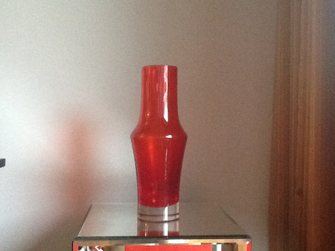 Riihimaki Lasy Oy Red Glass Vase
