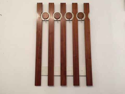 Danish Teak Wall Mounted Coat Rack