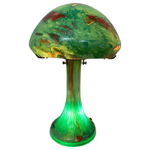 1920s Art Deco Murano Glass Domed Aquarium Table Lamp