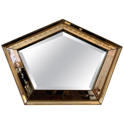 1930s Art Deco Pentagon Bronzed Wall Mirror