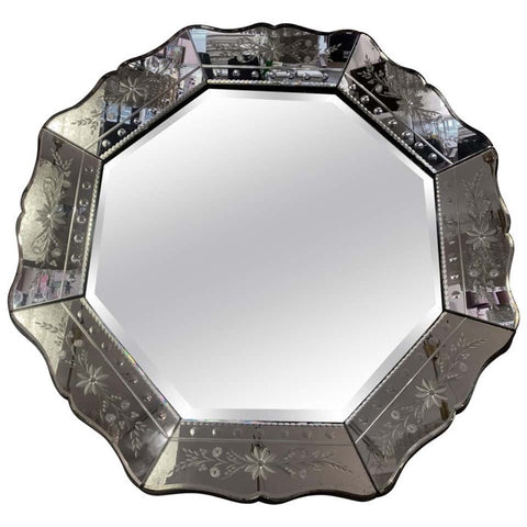Venetian Hexagonal Bevelled Floral Etched Mirror