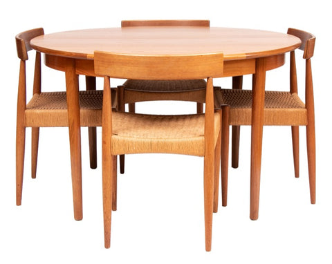 1950s Arne Hovmand Olsen for Mogens Kold Set of 4 Dining Chairs & Extending Dining Table
