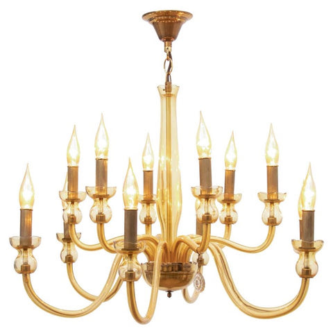 1950s Amber Bohemian Crystal Glass Chandelier