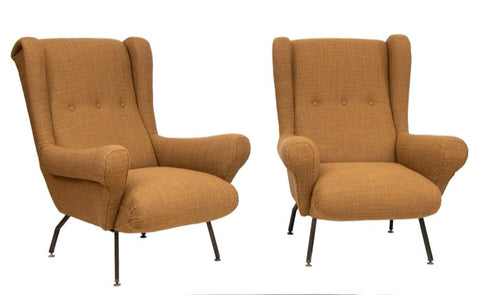 Pair of Stylish 1950s Italian Armchairs in Harvest Gold Fabric