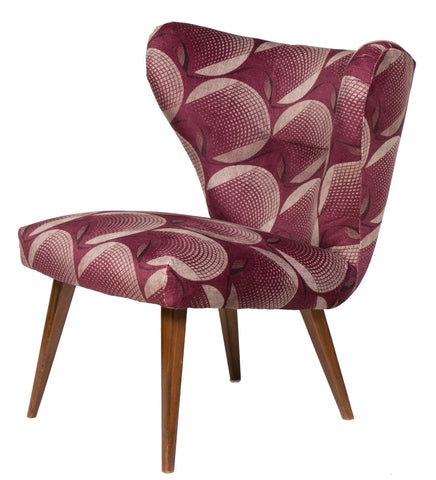 1950s German Cocktail Chair in Vintage Plum Fabric