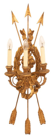 1960s Italian Wooden Gilded Three-Light Wall Sconce