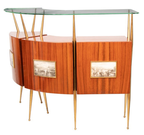 1950s Italian Rosewood, Brass and Glass Dry Bar attributed to Gio Ponti