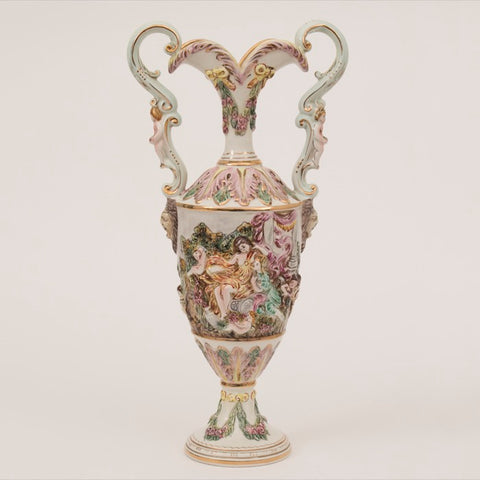 1950s Large Italian Capodimonte Porcelain Two-Handled Urn