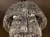 1950s Two-Tiered Kalmar Textured Glass Chandelier