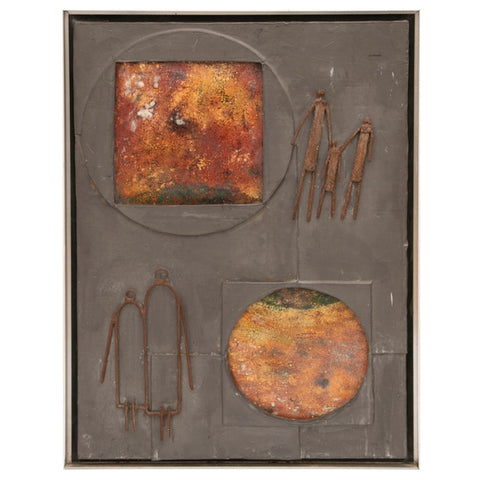 1950s Mixed Media Abstract Copper Wall Art