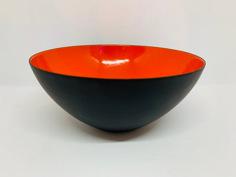 1950s Orange Enamelware Danish Krenit Metal Bowl