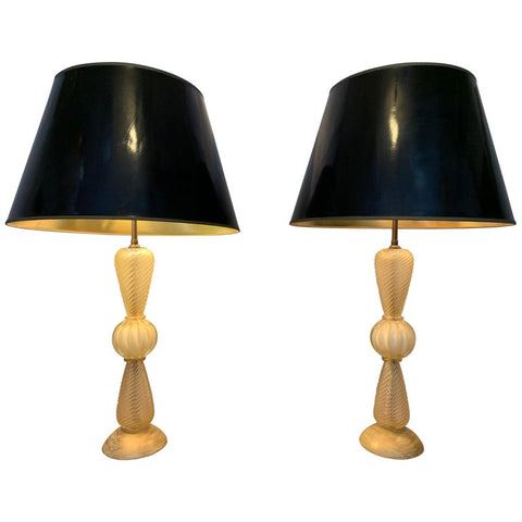 1950s Pair of Barovier & Toso Italian Murano Glass Gold Table Lamps