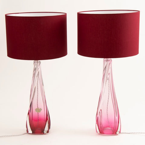 Pair of Pink Belgian Val St Lambert Table Lamps