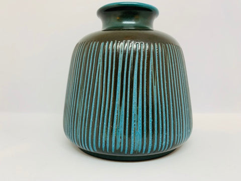 1950s West German Wächtersbach Troja Blue Striped Ceramic Vase