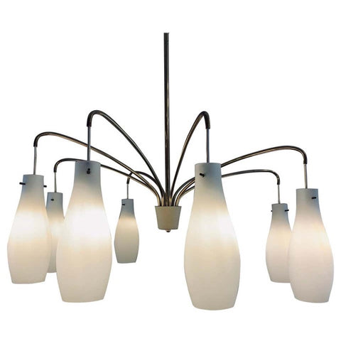 1960s 8 Shade Opaline Glass and Brass Hanging Light