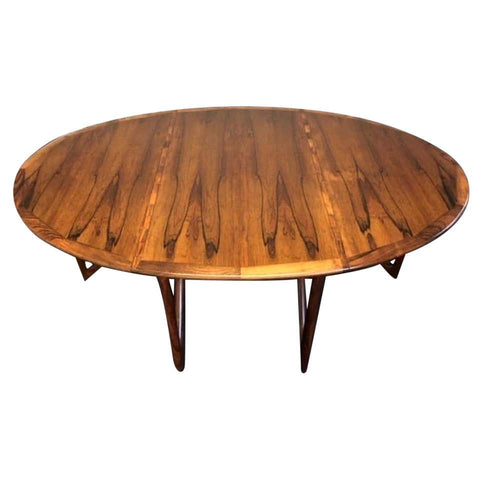 1960s Danish Rosewood Oval Drop Leaf Kurt Østervig Dining Table