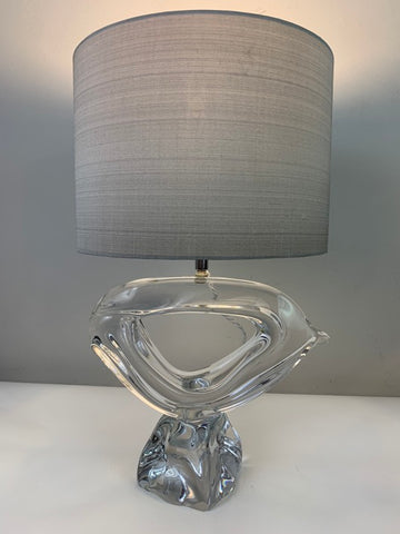 1960s Daum France Crystal Signed Table Lamp inc Shade