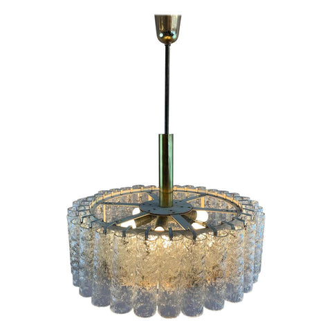 1960s Doria Leuchten Tubular Glass and Brass Chandelier