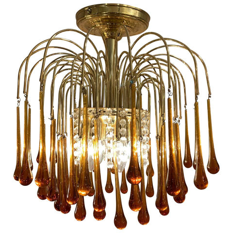 1960s Italian Brass and Murano Glass Chandelier by Paolo Venini