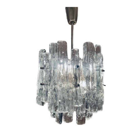 1960s Kalmar Two-Tier Iced Glass Chandelier