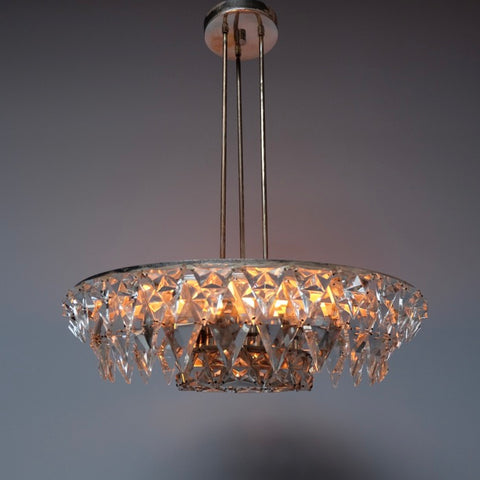 1960s Kinkeldey Silver Plated Icicle Cut Glass Chandelier