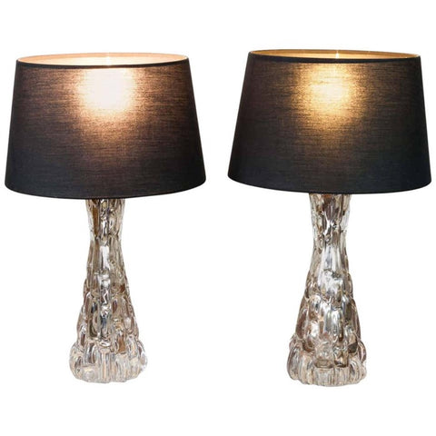 1960s Pair of Carl Fagerlund Croco Relief Glass Table Lamps by Orrefors