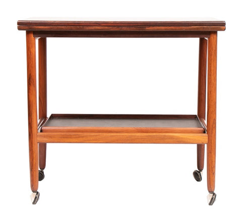 1960s Arrebo Møbler Danish Rosewood Folding Top Serving Trolley