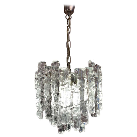 1960s Small Kalmar Two-Tier Iced Glass Chandelier