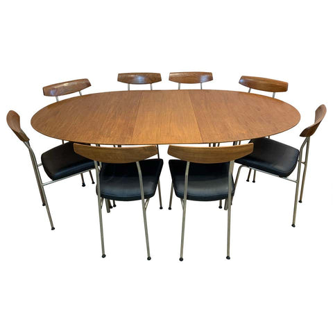 1960s Stag Furniture Oval Extending Dining Table & 8 S230 Dining Chairs