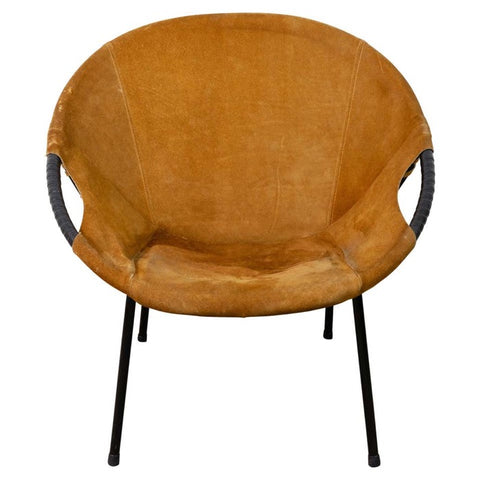 1960s Suede Circle Balloon Chair by Lusch Erzeugnis for Lusch & Co