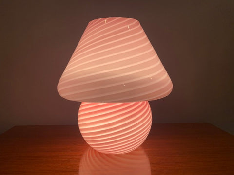 1960s Vetri Murano Glass Pink Table Lamp