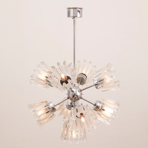 1960s Glass & Chrome Tulip Doria Sputnik Chandelier
