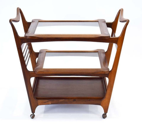 1960s Brazilian Rosewood Giuseppe Scapinelli Drinks Trolley