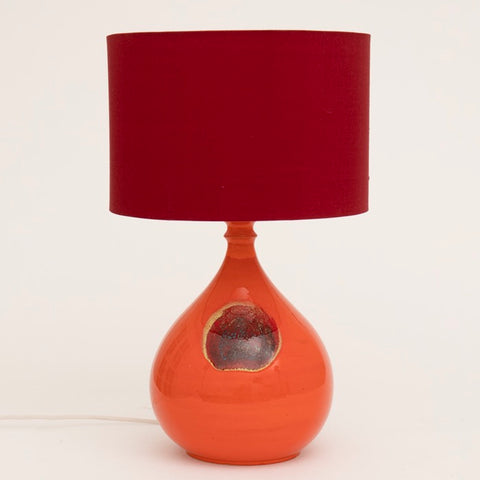 1970s Orange Ceramic Rosenthal Table Lamp