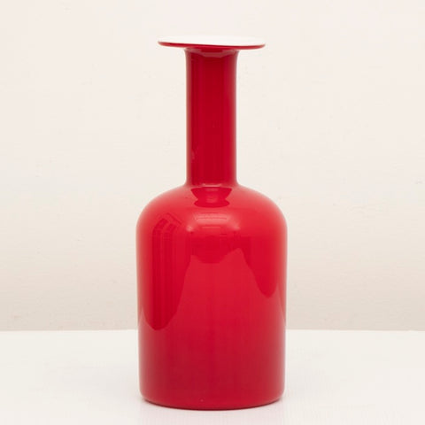 1962 Danish Red Gulvase by Otto Brauer for Holmegaard