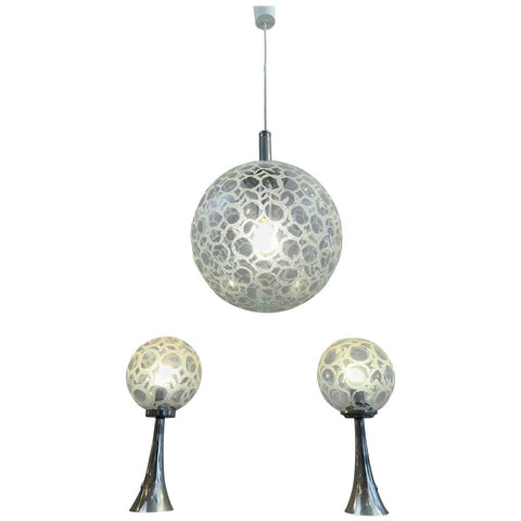 1970s Doria Globe Hanging Light & Pair of Table Lamps