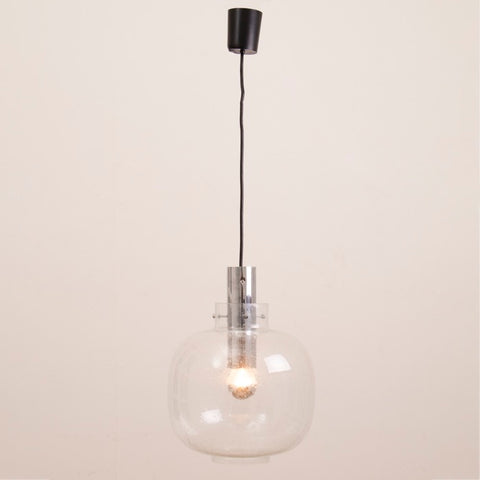 1970s German Limburg Bubbled Glass and Chrome Pendant Light