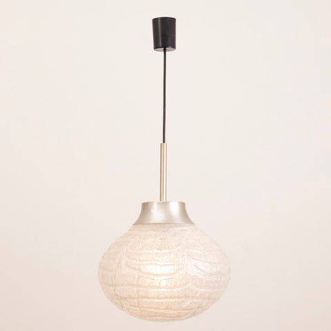 1970s German Doria Crackle Glass Bulbous Pendant Light