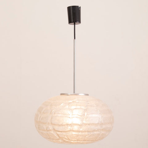 1970S German Doria Crackle Glass Pumpkin Pendant Light