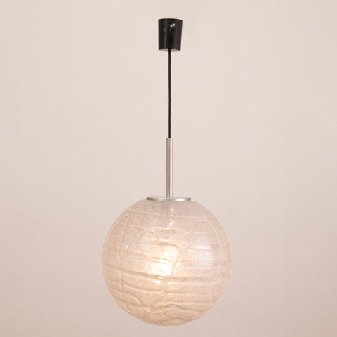 1970s German Doria Crackle Glass Globe Pendant Light