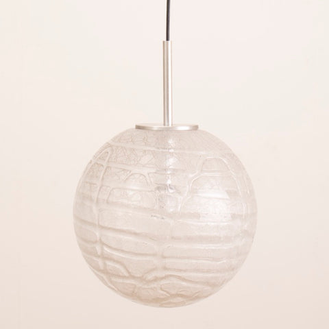 1970s German Doria Crackle Glass Globe Pendant Hanging Light