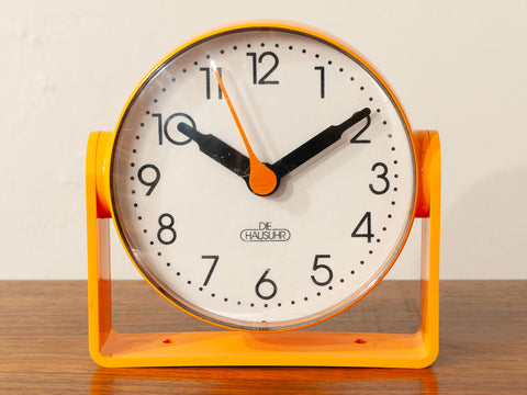 1970s German DIE HAUSUHR Rotating Orange Desk Clock