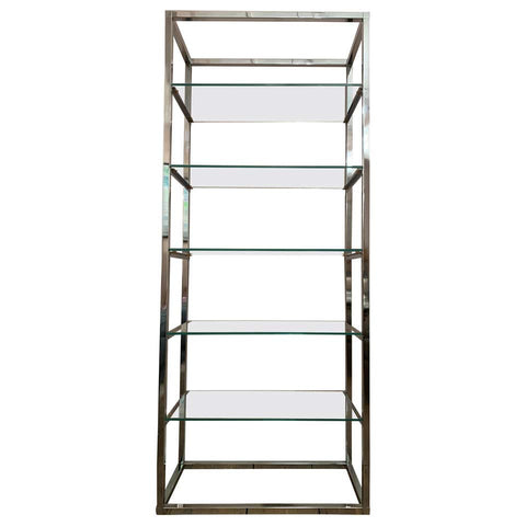 1970s Belgium Chrome & Clear Glass Shelving Unit