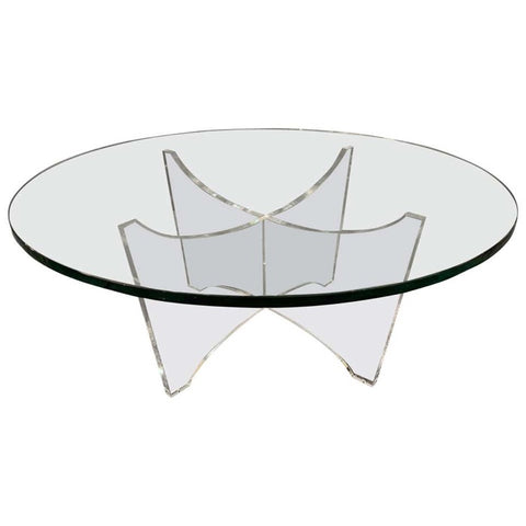 1970s Belgium Space Age Glass and Acrylic Coffee Table