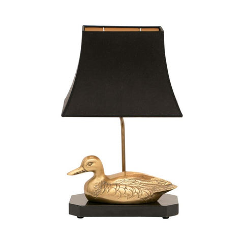 1970s French Brass Duck Table Lamp Maison Charles Style