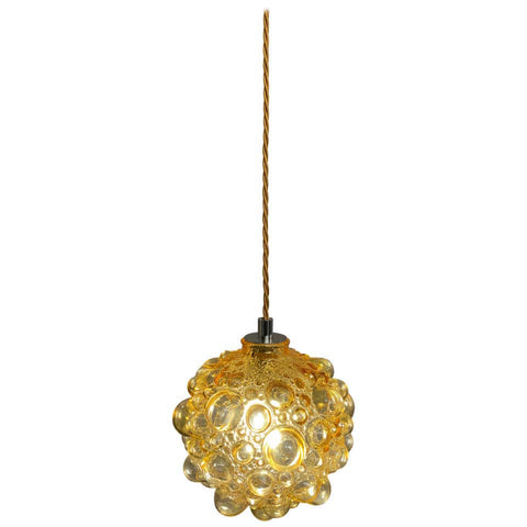 1970s Helena Tynell Amber Glass Bubble Pendant Light