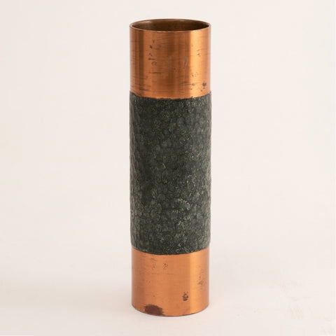 1970s Copper West German Brutalist Cylindrical Vase