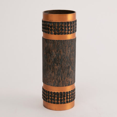 1970s Large Copper West German Brutalist Cylindrical Vase